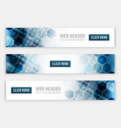Web headers or banners with abstract hexagonal vector
