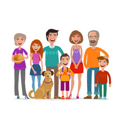 Big happy family group of people parents and vector