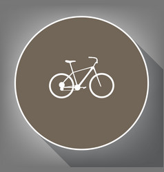 Bicycle bike sign  white icon on brown vector