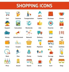 Colored shopping icons vector