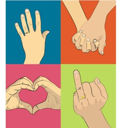 Wedding hands vector