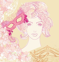 Venetian carnival - beautiful woman mask and vector