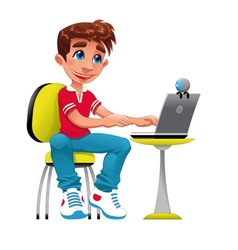 Boy and computer vector