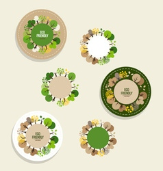 Nature banner eco organic labels and cards with vector