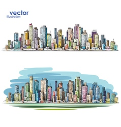 Cityscape hand-drawn vector