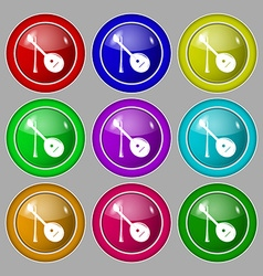Balalaika icon sign symbol on nine round colourful vector
