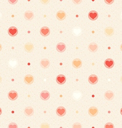 Retro seamless pattern color hearts and dots vector