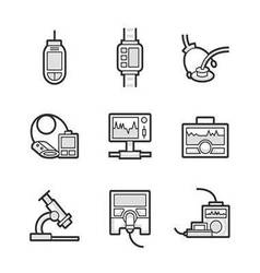 Medical device icon set vector