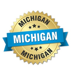 Michigan round golden badge with blue ribbon vector