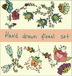 Set of hand drawn flowers clip art vector
