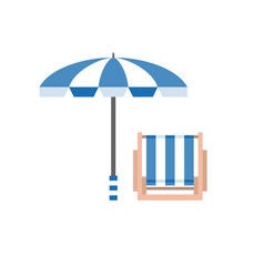 beach umbrella and deck chair vector image vector image