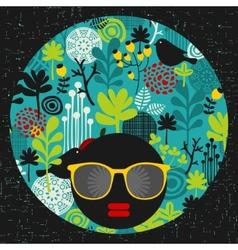 Black head woman in retro glasses vector