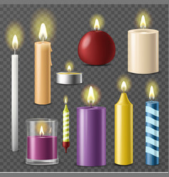 Candles realistic 3d set wax candle fire flame vector