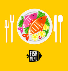 Cartoone fish menu with icon vector