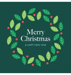 christmas card with wreath mistletoe vector image