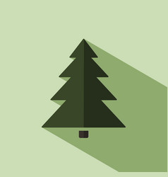 christmas tree icon with shade vector image vector image