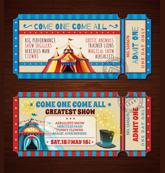 circus retro tickets banners set vector image vector image