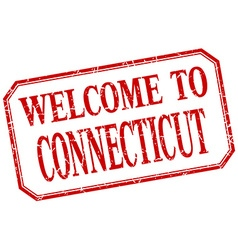 Connecticut - welcome red vintage isolated label vector