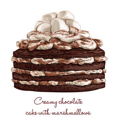 Creamy chocolate cake with marshmallows vector