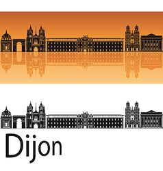 Dijon skyline in orange background vector image vector image