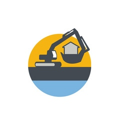 Excavator digger handling house circle retro vector