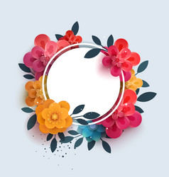Flower composition with the text in a circle vector