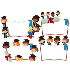 Four blank books with kids in graduation outfits vector