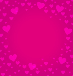 Frame border shaped from pink heart on deep pink vector