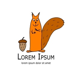Funny squirrel with nut for your design vector image