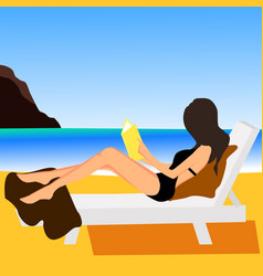 Girl on beach design flat vector