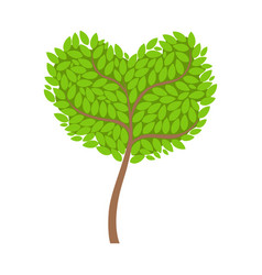 Green tree with a heart shaped crown element of a vector
