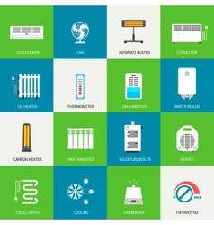 Heating ventilation and conditioning icons set vector image vector image