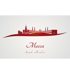 Mecca skyline in red vector