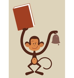 monkey with book vector image vector image