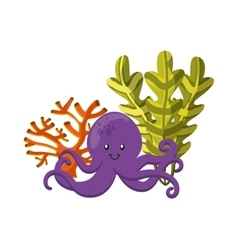Octopus coral and algae icon sea life design vector