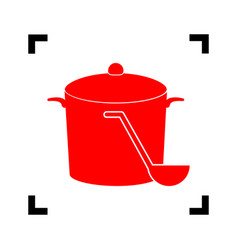 Pan with steam sign red icon inside black vector