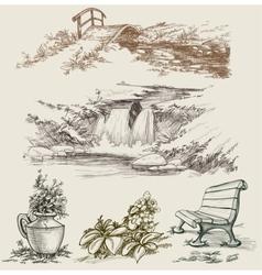 Park or garden design elements vector image
