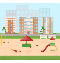 playground kindergarten city buildings views vector image