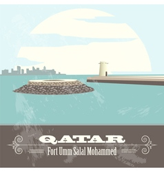 Qatar retro styled image fort umm salal mohammed vector