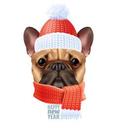 realistic dog bulldog christmas composition vector image
