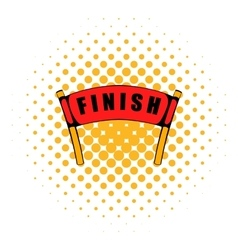Red ribbon in finishing line icon comics style vector