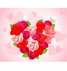 roses heart card vector image