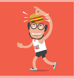 runner with hamburger vector image vector image