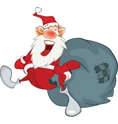 Santa Claus and sack full of gifts vector image