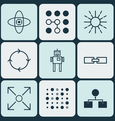 Set of 9 machine learning icons includes analysis vector