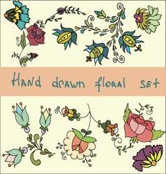 Set of hand drawn flowers clip art vector