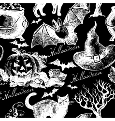 Sketch Halloween seamless pattern vector image vector image