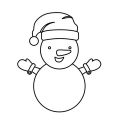Sketch silhouette cartoon snowman christmas design vector