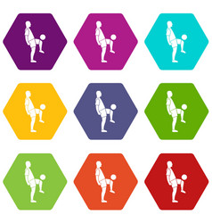 soccer player man icon set color hexahedron vector image