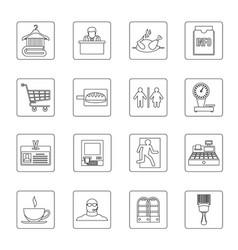 Supermarket navigation icons set outline style vector